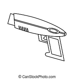 weapon virtual reality game thin line vector illustration...