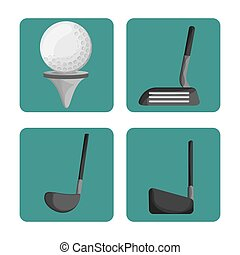 sport golf clubs and ball set vector illustration eps 10