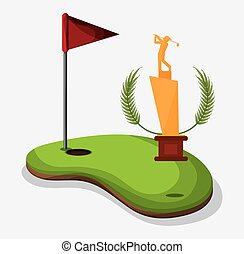 trophy golf player field flag hole one vector illustration...