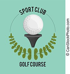 sport club golf course ball on tee label