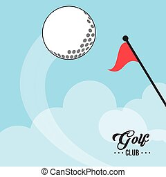 golf club ball and red flag vector illustration eps 10