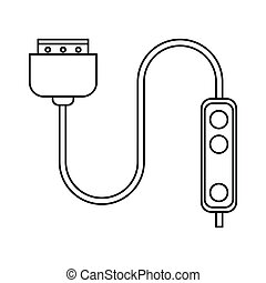 computer cable connection plug thin line