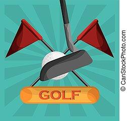 golf clubs ball and flag emblem