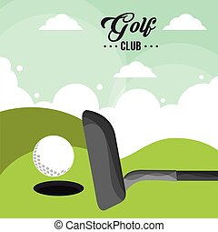 golf club ball field hole one poster vector illustration eps...