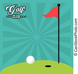 golf club red flag hole in one field
