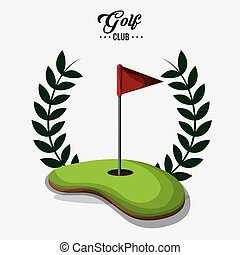 golf club red flag field label vector illustration eps 10