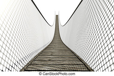 Rope Bridge On White - A curved rope bridge made of wooden...