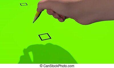 3D animation. The hand with a pencil puts a tick in the box. Chroma key with an alpha channel