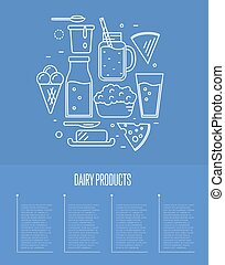 Dairy banner with milk products composition isolated on blue...