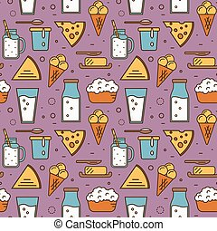 Dairy seamless pattern in line style design - Dairy product...