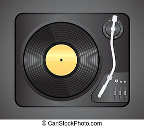 Vintage vinyl player with no name plate top view . Eps 10...