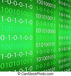 Green binary computer code repeating vector background . Eps...