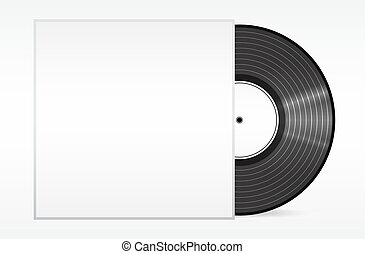 Vintage vinyl record in sleeve over white. . Eps 10 vector illustration