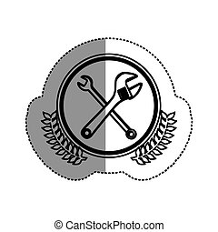 contour symbol wrench and monkey wrench icon, vector...