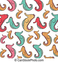 color sea horse background icon