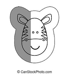 contour face zebra icon, vector illustration design image