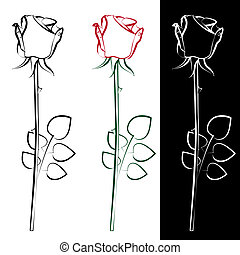 Roses - A collection of three silhouettes of roses