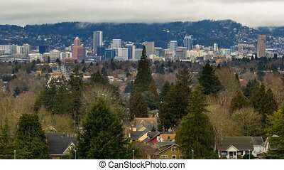 Time lapse of white clouds over Portland OR cityscape from Mt. Tabor 4k uhd