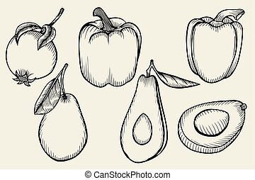 set fruits and vegetables - Hand drawn set fruits and...