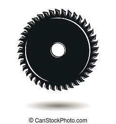 Circular saw sign or symbol, monochrome element for...