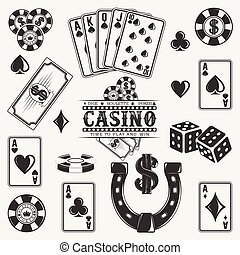 vintage logo design - Set of casino, poker and dice elements...
