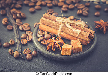 Roasted coffee beans background. Coffee beans with copy...
