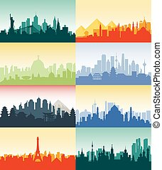 Brazil Russian France, Japan, India, Egypt China USA silhouette architecture buildings town city country travel