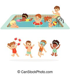 Small Children Having Fun In Water Of The Pool With Floats...