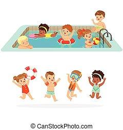 mignon, ensemble, coloré, gonflable, enfants, flotte, dessin...