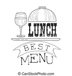 Best Cafe Lunch Menu Promo Sign In Sketch Style With Glass...