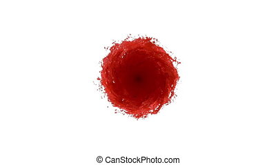 RED Liquid tornado on white background. Beautiful colored...