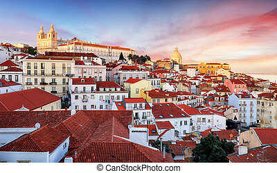 Lisbon, Portugal town skyline at Alfama.