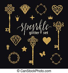Set collection of golden glitter diamonds, hearts, stars, frames, butterfly and keys on black background.