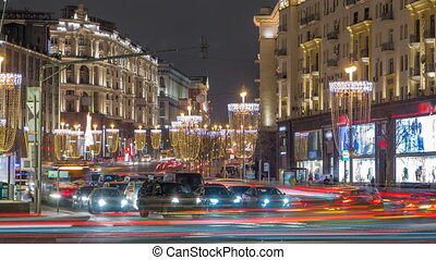 Tverskaya Street timelapse with Wineglass-shaped Street...