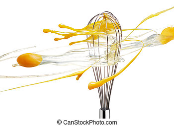 whisk beating eggs isolated on white background