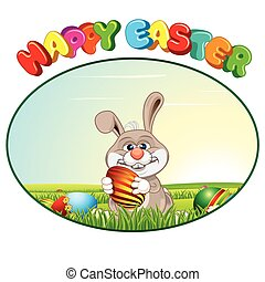 Easter Bunny with Egg. Vector Background
