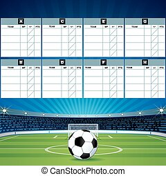 Soccer Background with Score Tables. Vector