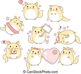 Set of cute cats in kawaii style - Collection of cute cats...