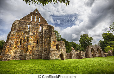 detail of complex in Battle Abbey in town of Battle in East Sussex, England
