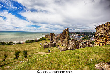 Hastings Castle, Town Center in the background - Hastings...