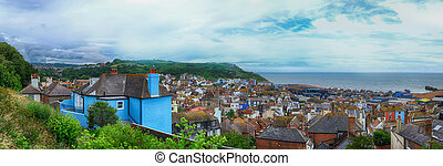 panorama of Hastings Town, East Sussex, England