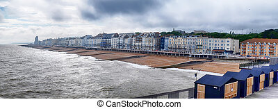 panorama of Hastings Town coast line from the Pier, East...