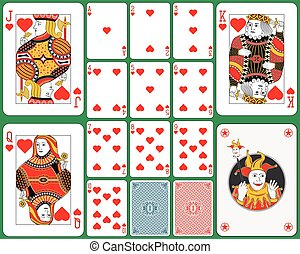 Playing Cards Hearts Suit - Playing cards hearts suit, faces...