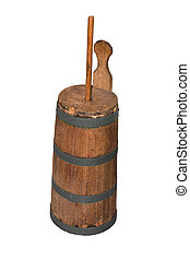 Old butter churn on a white background - Old butter churn...