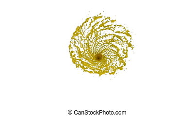 yellow Liquid tornado. Beautiful colored paint whirl. Isolated transparent vortex of liquid like whirlwind 3d animation with alpha matte. Version 4