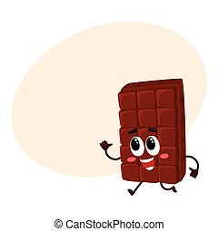 Cute chocolate bar character with funny face hurrying somewhere