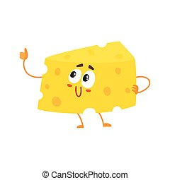 Funny cheese chunk character showing thumb up, good quality concept