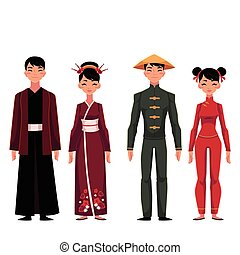 Set of people, men and women, in traditional national costumes