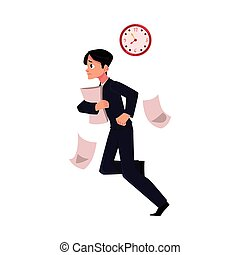 Businessman hurrying to work holding papers, losing documents, being late