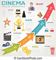 Cinema and movie Infographics with Flat Icons ticket,...